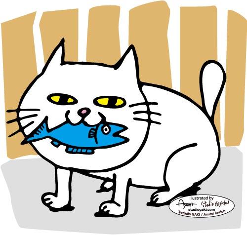猫とアイコンタクトするイラスト