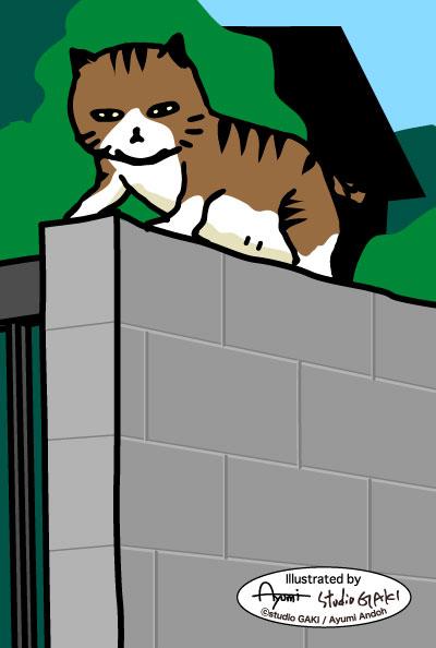 垣根の上の猫のイラスト