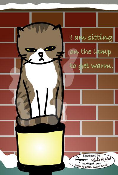 街灯の上の猫(ネコ/ねこ)のイラスト