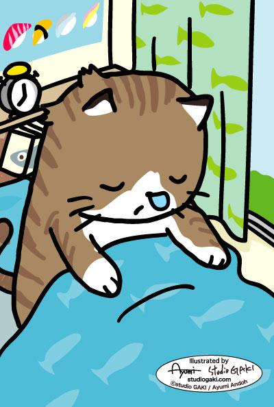 寝起きの猫(ネコ/ねこ)のイラスト