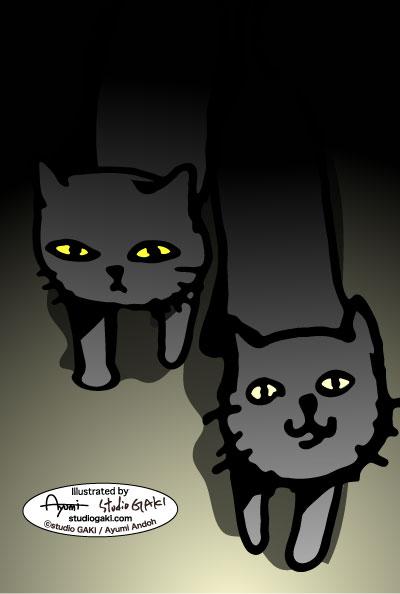 暗闇の中の猫(ネコ/ねこ)のイラスト