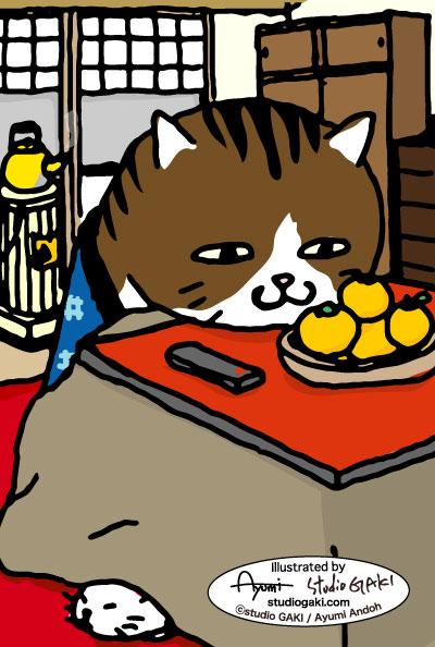 火燵に入る猫(ネコ/ねこ)のイラスト