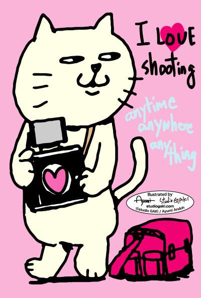 猫とカメラのイラスト