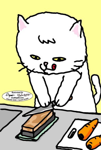 包丁を研ぐ猫のイラスト