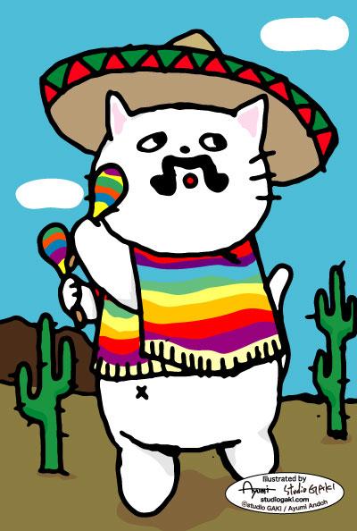 メキシコをイメージした猫のイラスト