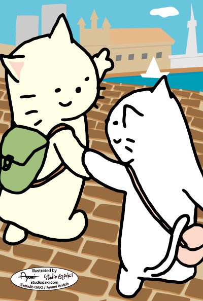 石畳と猫のイラスト