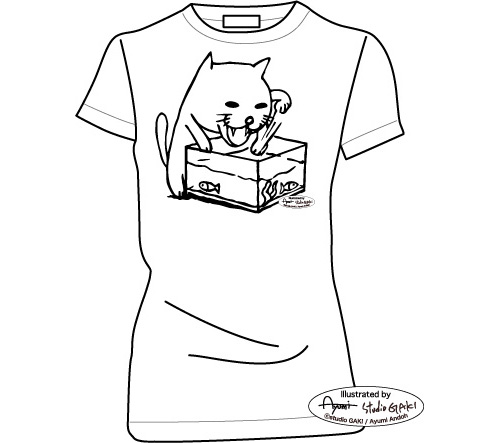 金魚鉢の中の金魚に夢中な猫(ネコ)のイラスト