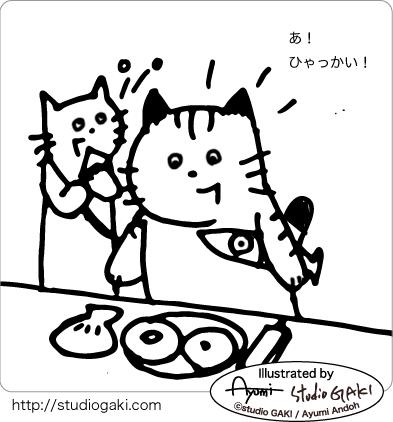 100回記念を喜ぶ猫のイラスト