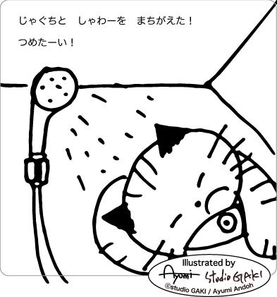 シャワーを浴びる猫のイラスト