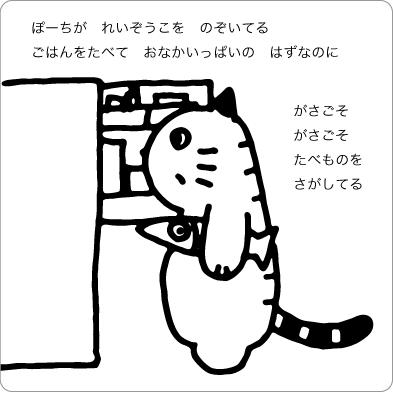 冷蔵庫をのぞく猫のイラスト