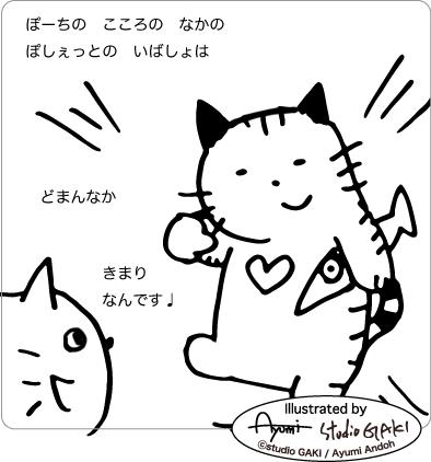 心の真ん中に居る猫のイラスト