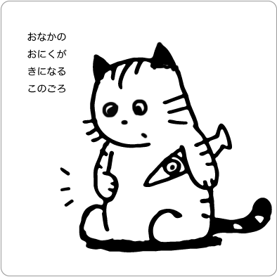 お腹のお肉が気になる猫のイラスト
