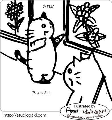 誤摩化す猫のイラスト
