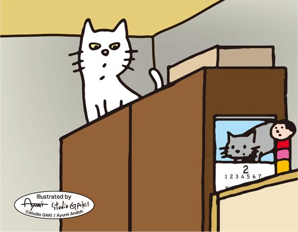 タンスの上に居る猫のイラスト  ...